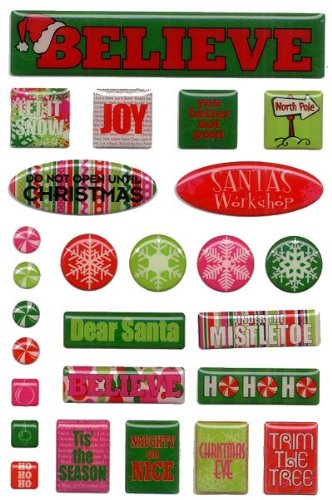 Santas Workshop Epoxy Christmas Stickers by Reminisce