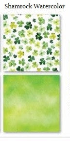 Watercolor Shamrock Print St Patricks Day - 12x12 Scrapbook Papers - 5pc