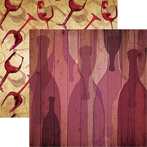The Winery - Bottle of Red - 12x12 Scrapbook Paper of 5 Sheets by Reminisce