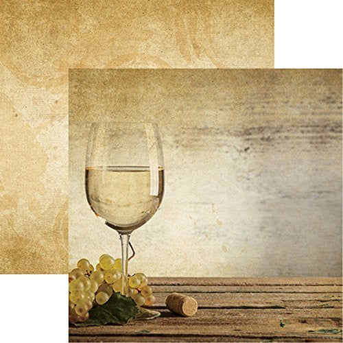 The Winery - White Wine - 12x12 Scrapbook Paper of 5 Sheets by Reminisce