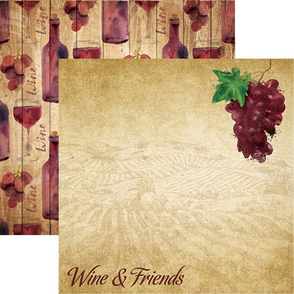 The Winery - Wine and Friends - 12x12 Scrapbook Paper of 5 Sheets by Reminisce