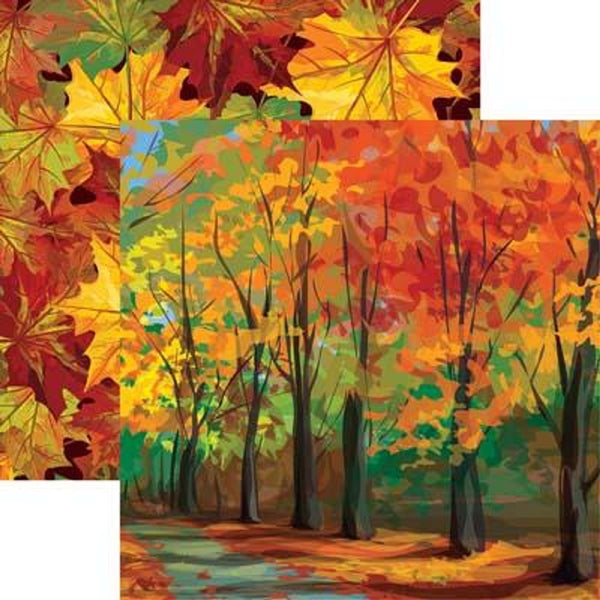 Autumn Trail Fall Leaves Scrapbook paper
