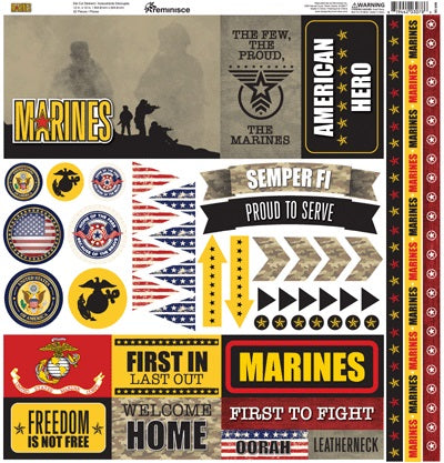 Reminisce Marines Cardstock Stickers