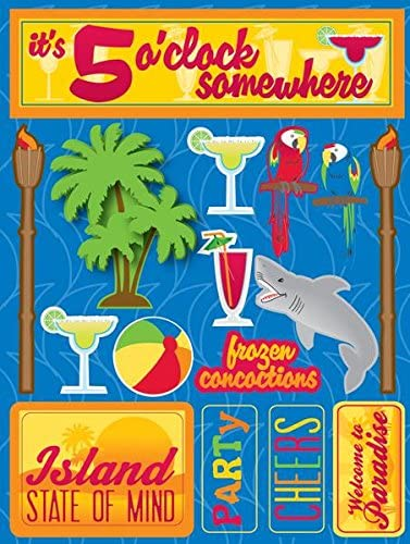 Reminisce 3d Tropical Party Stickers
