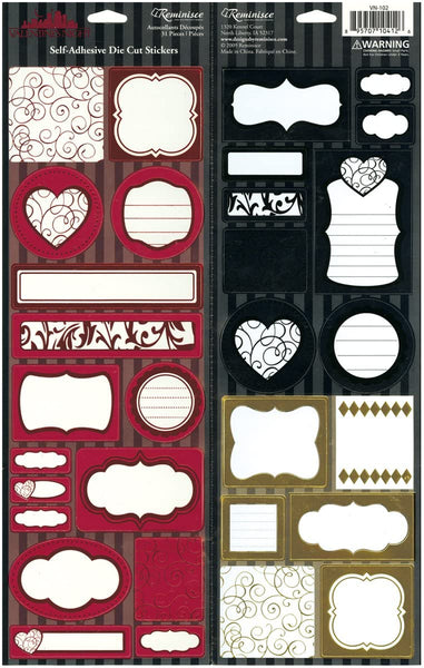 Foil Tag and Journal Stickers from Valentines Night by Reminisce