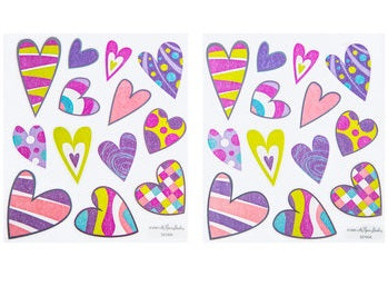 Retro patterned heart stickers Valentines Stickers