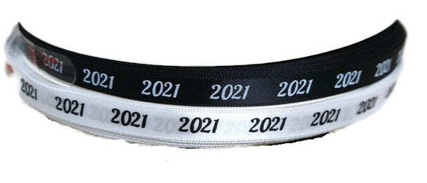 Satin 2021 Ribbon Black White