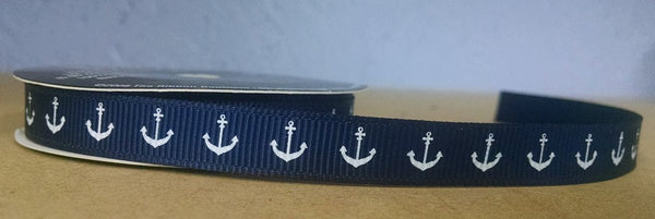 Anchor Nautical Navy Blue/White Grosgrain Ribbon - 4 Yards 3/8In