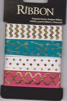 Printed Ribbon Assortment - Turquoise Arrow Designer Ribbon