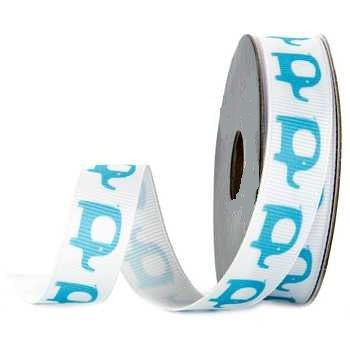 Blue Elephant Grosgrain Ribbon - 4 Yards