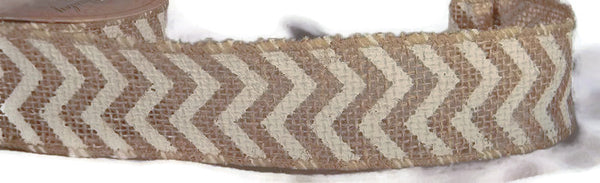 Burlap Ribbon Chevron Striped White 1.5In -  5 Yards