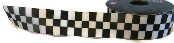 7/8In Black/White Checkered Ribbon - 5 Yards