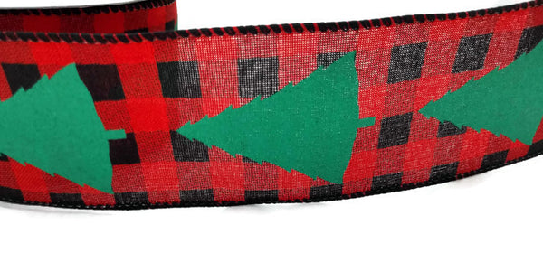 Christmas Tree Buffalo Plaid Wired Christmas Ribbon