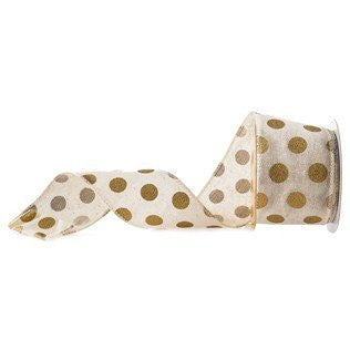 "2 1/2"" Cream Wired Edge Ribbon with Gold Dots - 5 Yards"