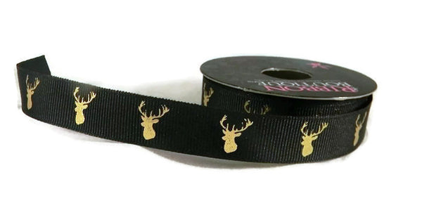 Deer Head Buck Black & Gold Foil Grosgrain Ribbon - 4 Yards
