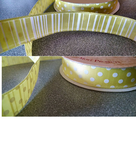 Yellow Polka Dot Striped Ribbon