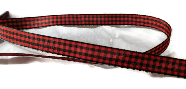 Red/Black Woodland Plaid/Check Gingham Ribbon - 5yds - 1/4