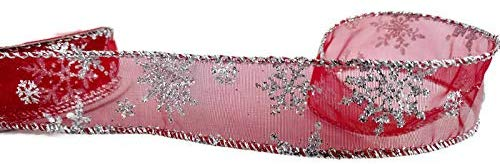 Red Snowflake Sheer Ribbon