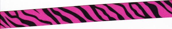 "3/8"" Zebra Print Ribbons - HOT PINK - 4yds"