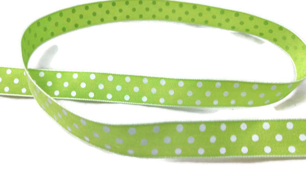 Lime Polka Dot Satin Ribbon