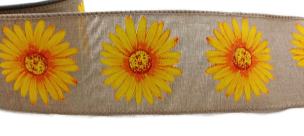 Canvas Sunflower Ribbon Wired