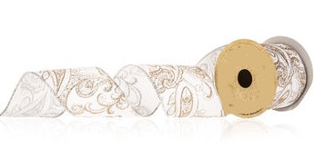 Gold Paisley Wired Ribbon