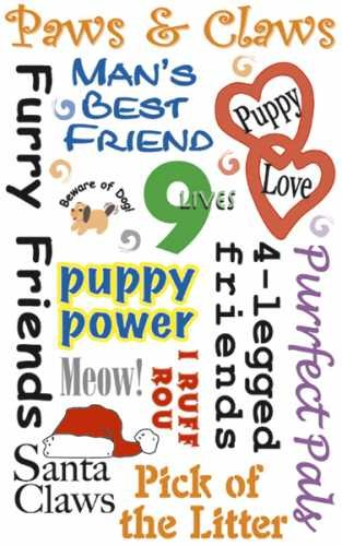 Dog and Cat Pets Rubon Phrase and Sentiments