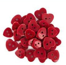 Heart Buttons - Red Hearts - 36pc