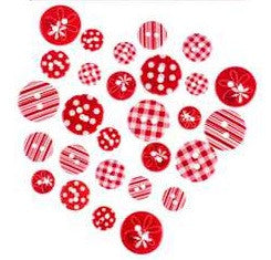 Patterned Buttons Assortment - Reds - 28pc