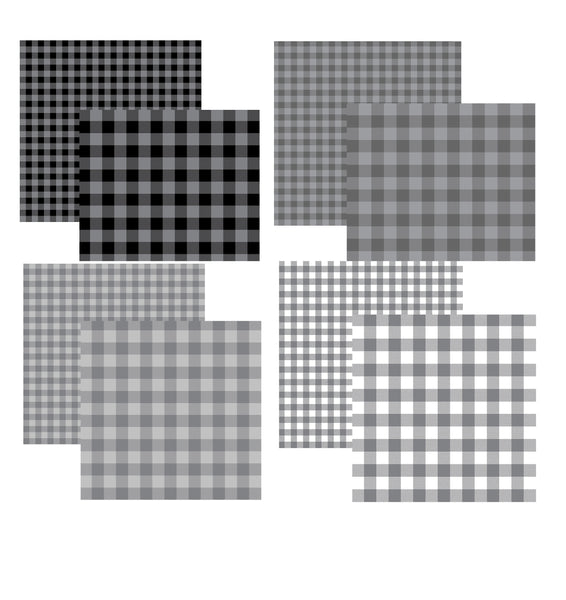 Shades of Gray Plaid Assortment Set