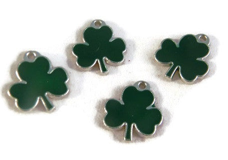 St Patricks Day Shamrocks Clover Enamel Charms Set of 4