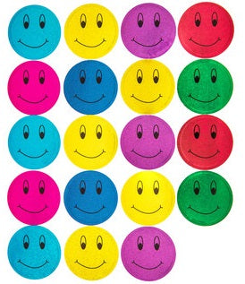 Bright Holographic Smiley Face Stickers - 38 Pieces