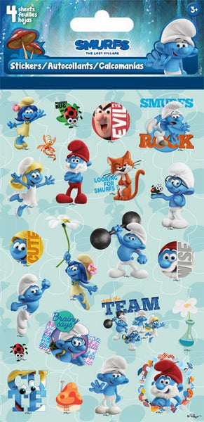 Smurfs 3 Movie Stickers Craft Scrapbooking - 4 Sheets