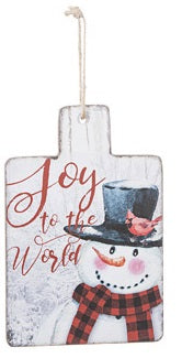 Snowman Joy to the World Wood Sign