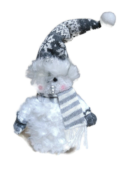 Gray/White Snowman with Scarf Figure Shelf Sitter
