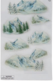 3d Snowy Mountains Stickers Set