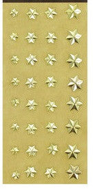 Metallic Gold Star Brads 6 Point 3d Paper Fasteners - 32pc