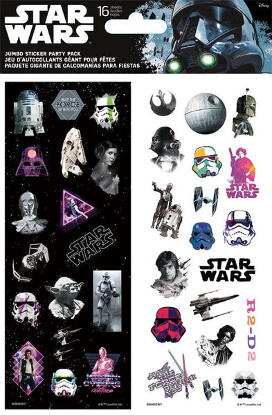 Star Wars Party Favor Sticker Pack 16 Sheets