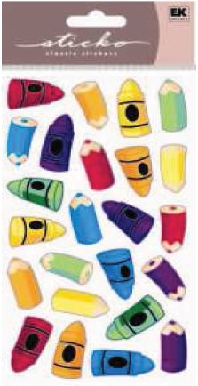 Color Me Crayons Epoxy Puffy Stickers by Sticko