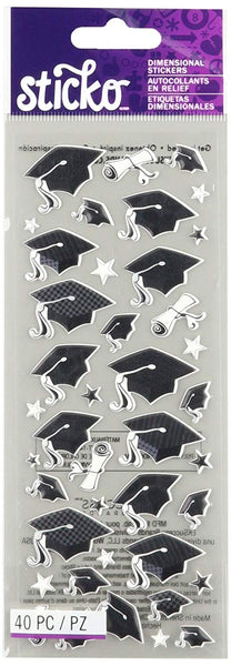Puffy Graduation Caps Stickers by Sticko