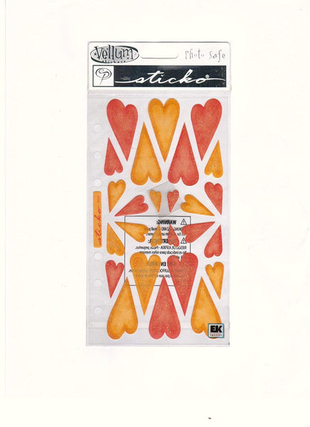 Sticko Vellum Red and Orange Heart Stickers