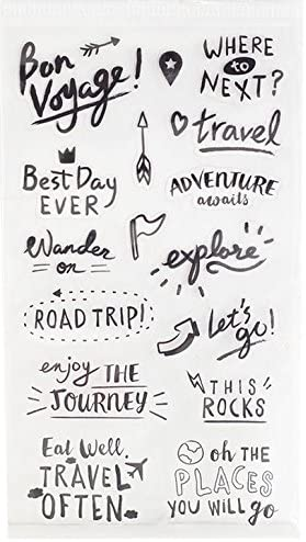 Travel Words Clear Stickers