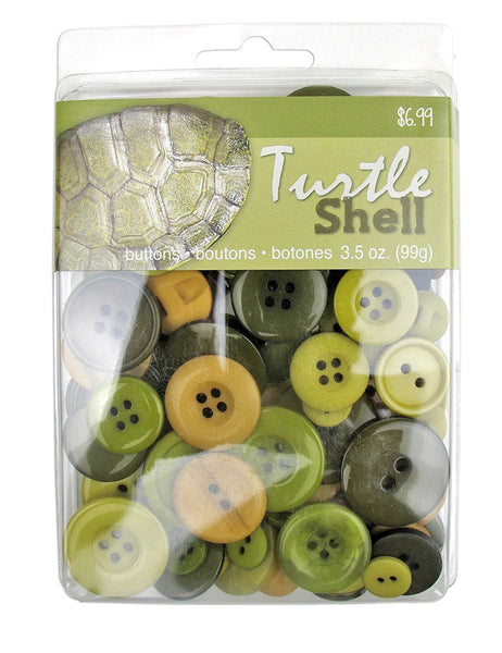 Turtle Shell Olive Green Color Buttons Assortment