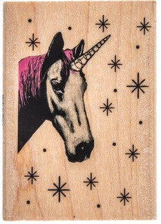 Twinkle Unicorn Stamp Wooden Rubber Scrapbooking