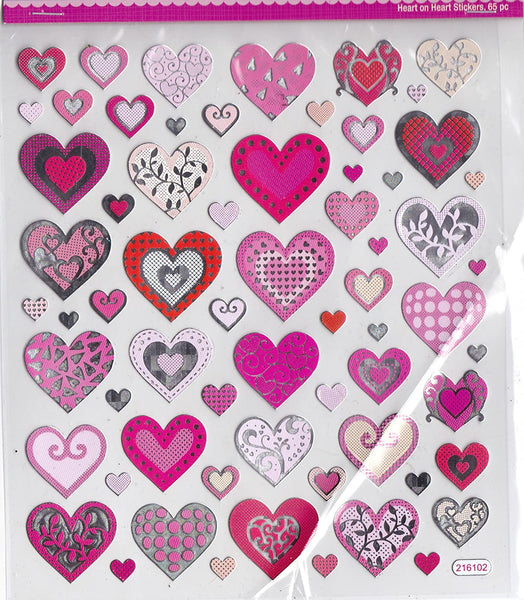 Valentine Heart on Heart Stickers