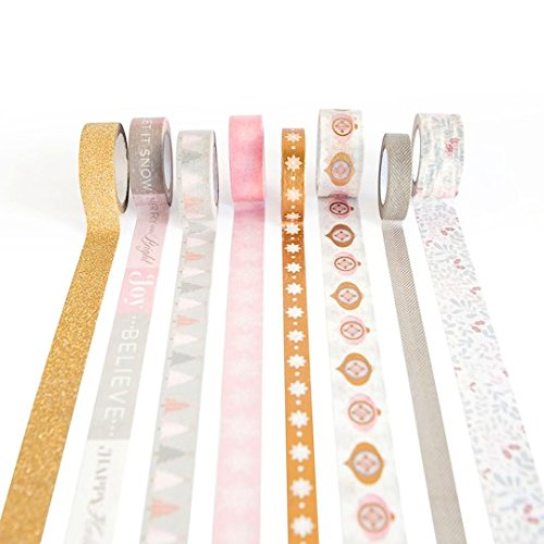 Blush Pink Gold Christmas Washi Tape Assortment