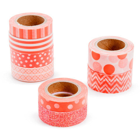 Coral Orange Washi Tape Assortment