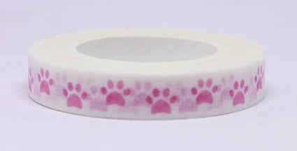 Pink Paw Print Dog Washi Craft Tape