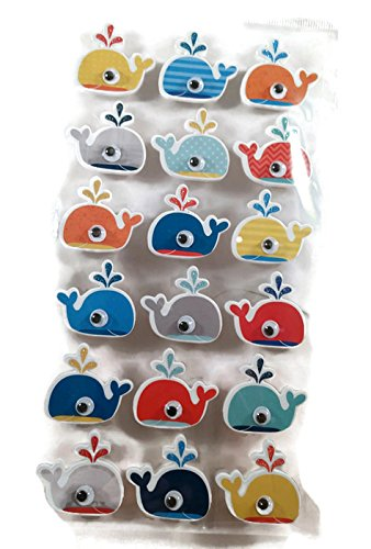 Whale 3d stickers with wiggly eyes