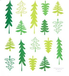 Whimsical Christmas Tree Stickers